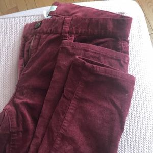 Jcrew girls toothpick brushed burgundy velvet 16